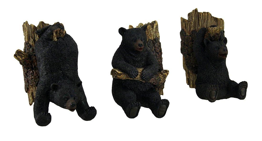 Zeckos Resin Decorative Wall Hooks Set Of 3 Hanging Black Bear Decorative Whimsical Wall Hooks 5 X 5 X 2.5 Inches Black