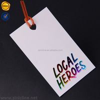 Sinicline Custom Colorful Foil Printing Hang Tag With Waxed Rope