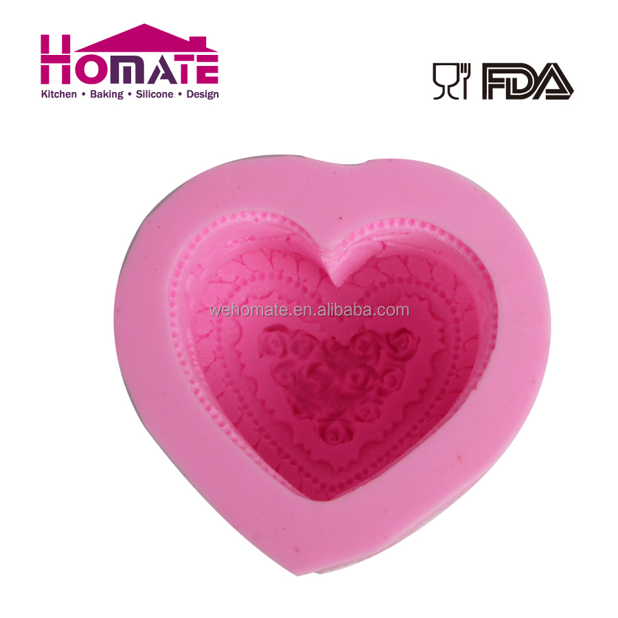 Heat resistance silicone mold for soap and candle, custom color silicone candle molds heart shape
