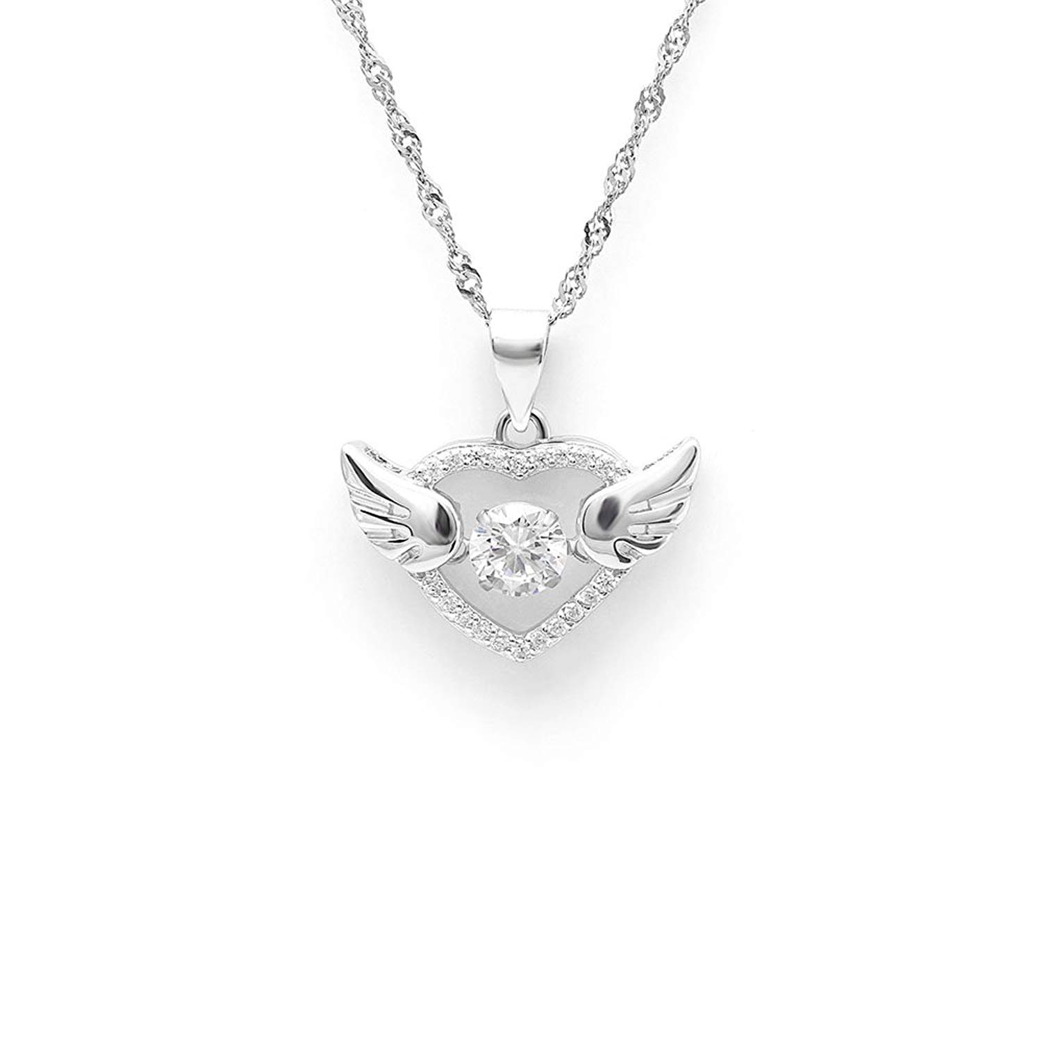 Heart with Wings Dancing Stone Sterling Silver CZ Pendant NecklaceGinger Lyne Collection