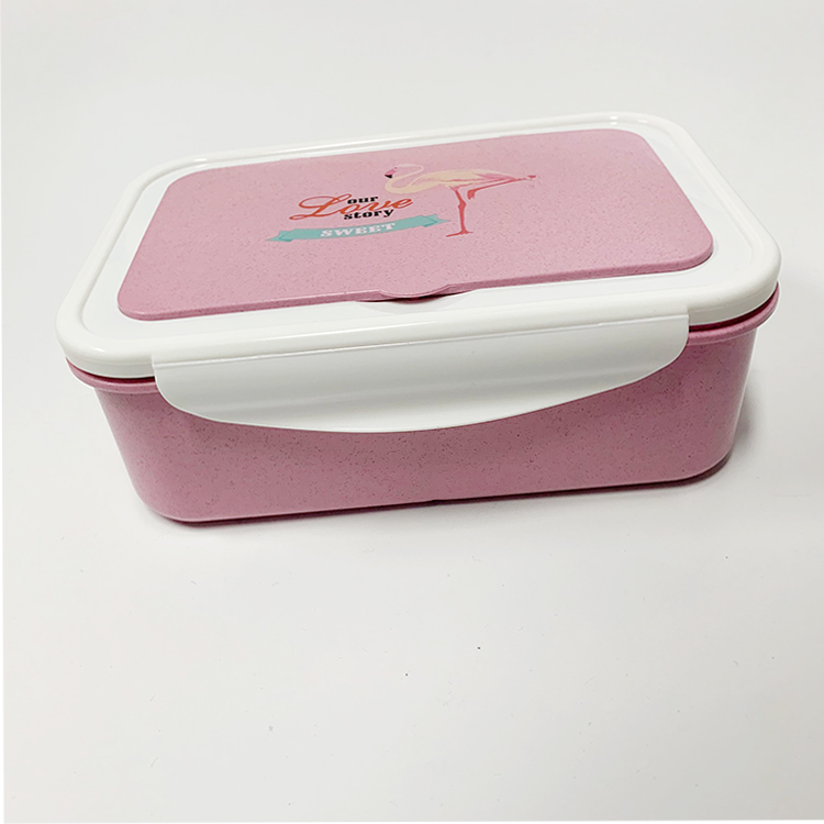 amazon top seller bpa free 3 compartment wheat lunch box containers with spoon fork