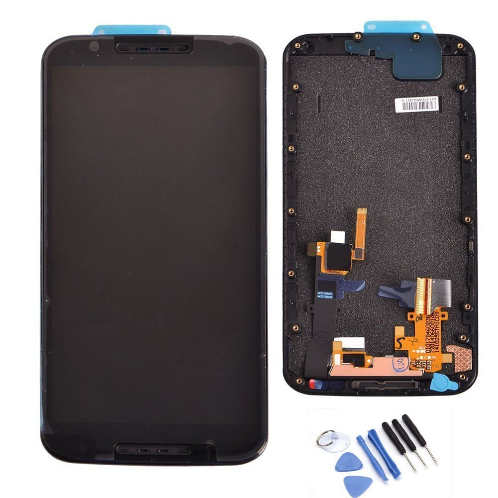MORESUN-High Quality Full LCD Display Glass Touch Screen Digitizer Assembly with Frame Replacement Part for Motorola Moto X+1 X 2nd Gen 2014 XT1092 XT1095 XT1096 (Black)