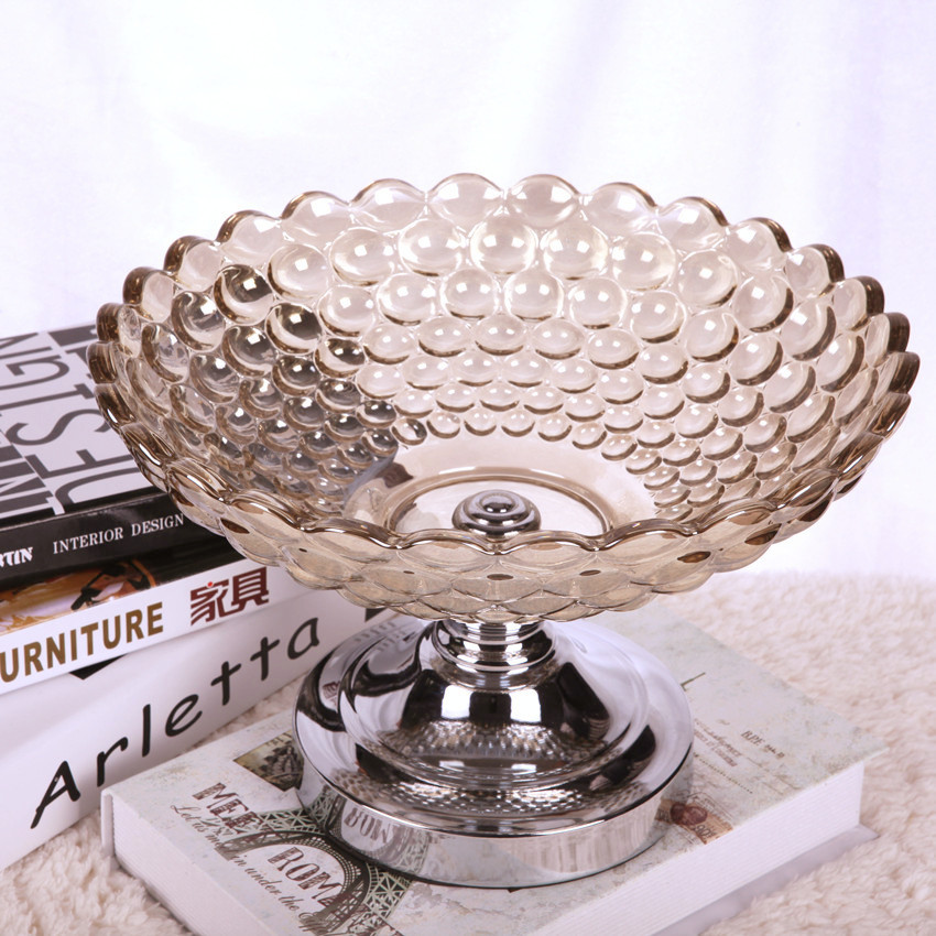 European style crystal glass fruit plate for home decoration and weddings