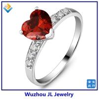 Heart Shape Garnet CZ Ruby Diamond Silver Rings fancy jewelry making