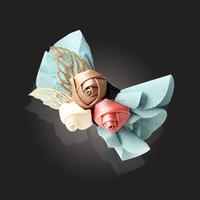 Handmade Silk Ribbon Flower With Leaves,Sweet Hair Accessories