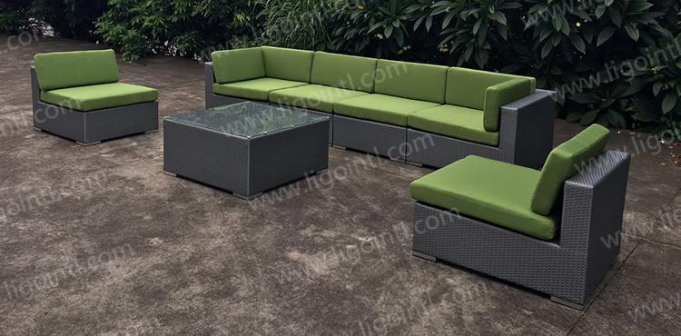 Wholesale modern design cast aluminum plastic rattan outdoor sectional living room couch sofa set