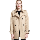 Production processing manufacture fall winter button wholesale custom classic women windbreaker trench coat