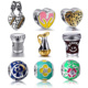 factory direct sale OEM heart shape cz pave sterling silver 925 european enamel bead charms for bracelets
