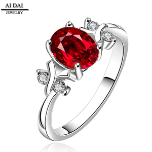 High-grade elegant ladies' stainless steel ring Large red zircon ladies' wedding ring Jewelry Exquisite gift