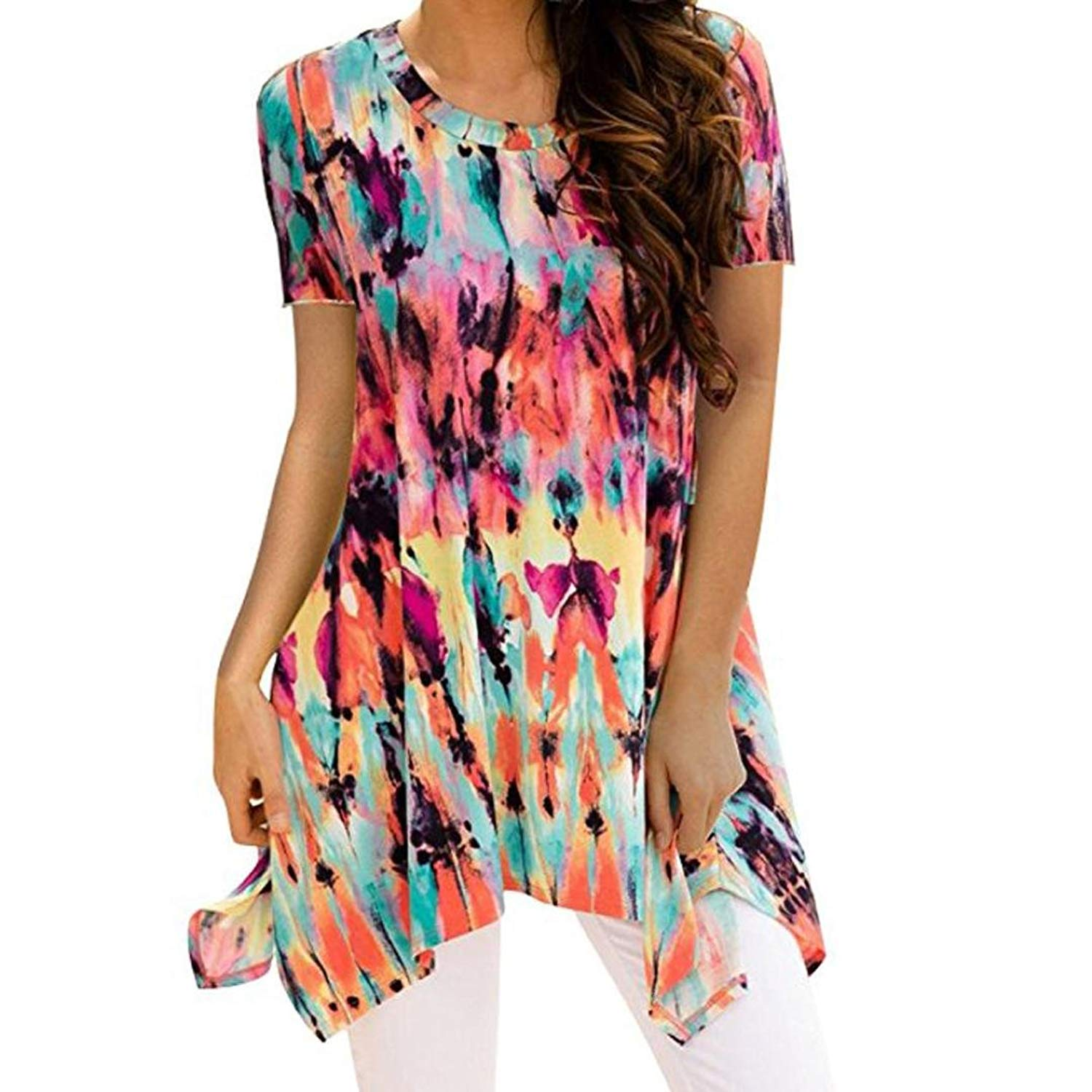 Inkach- Womens Loose T-Shirts, Casual Summer Short Sleeve Tie-Dye Printed Tunic Blouses Tops