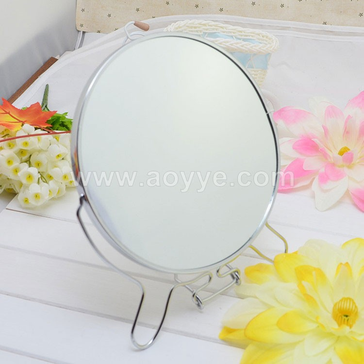 Round makeup desktop mirror, Large table rotating mirror Metal cosmetic mirror wholesale 1:2 zoom function