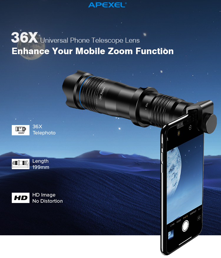 2019 Amazon Hot Selling Mobile Phone Telescope 36X Telephone Telephoto Optical Zoom Camera Lens for Cell Phone
