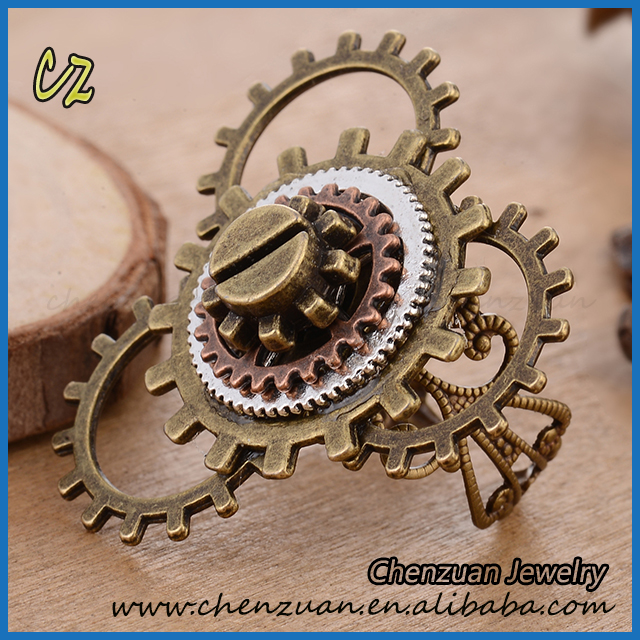 Fashion steampunk gothic skeleton skull ring one adjustable ring watch parts men jewelry