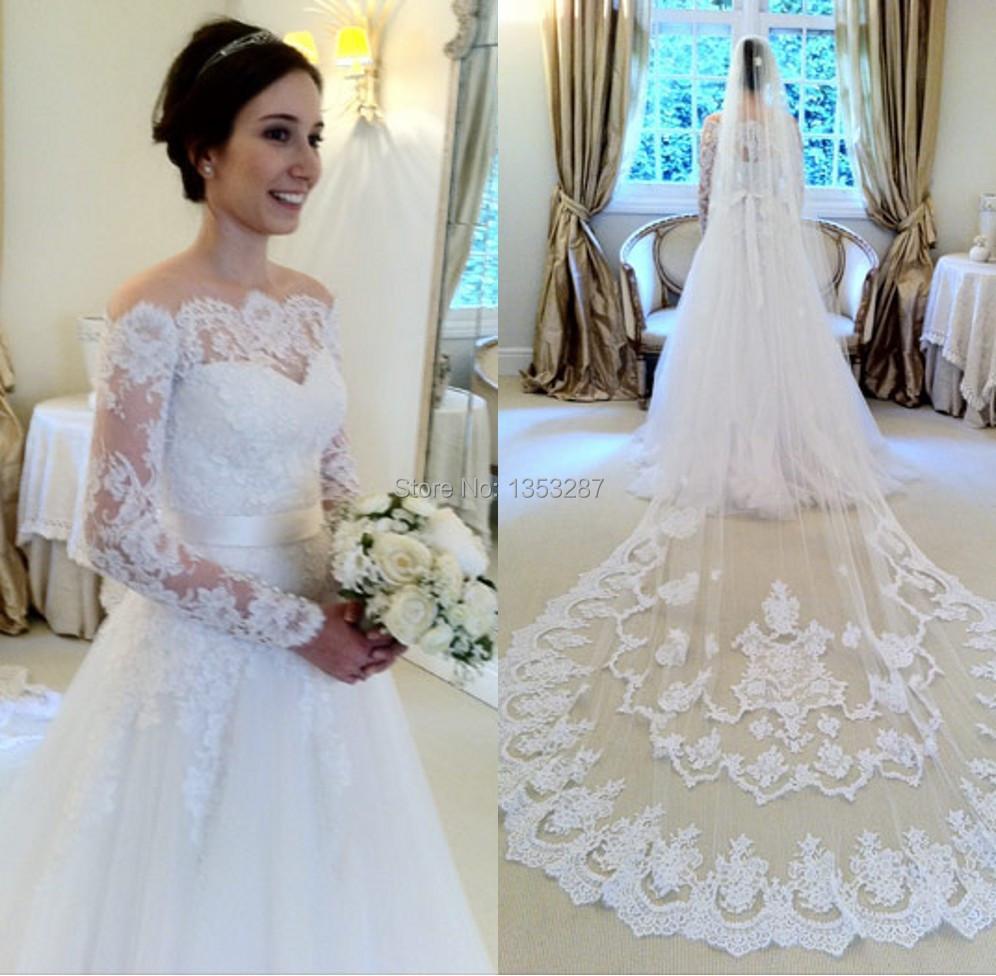 Wedding Gown Veil: Elegant A Line Wedding Dress With Veil Casamento Long