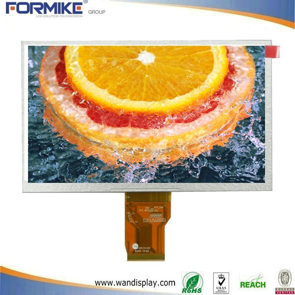 Color lcd display 7 inch transflective with 370cd/m2 high brightness and 12 LEDS
