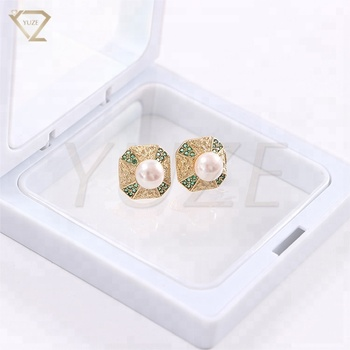 Real Freshwater Pearl Egyptian Style Saudi Gold Stud Earrings Design