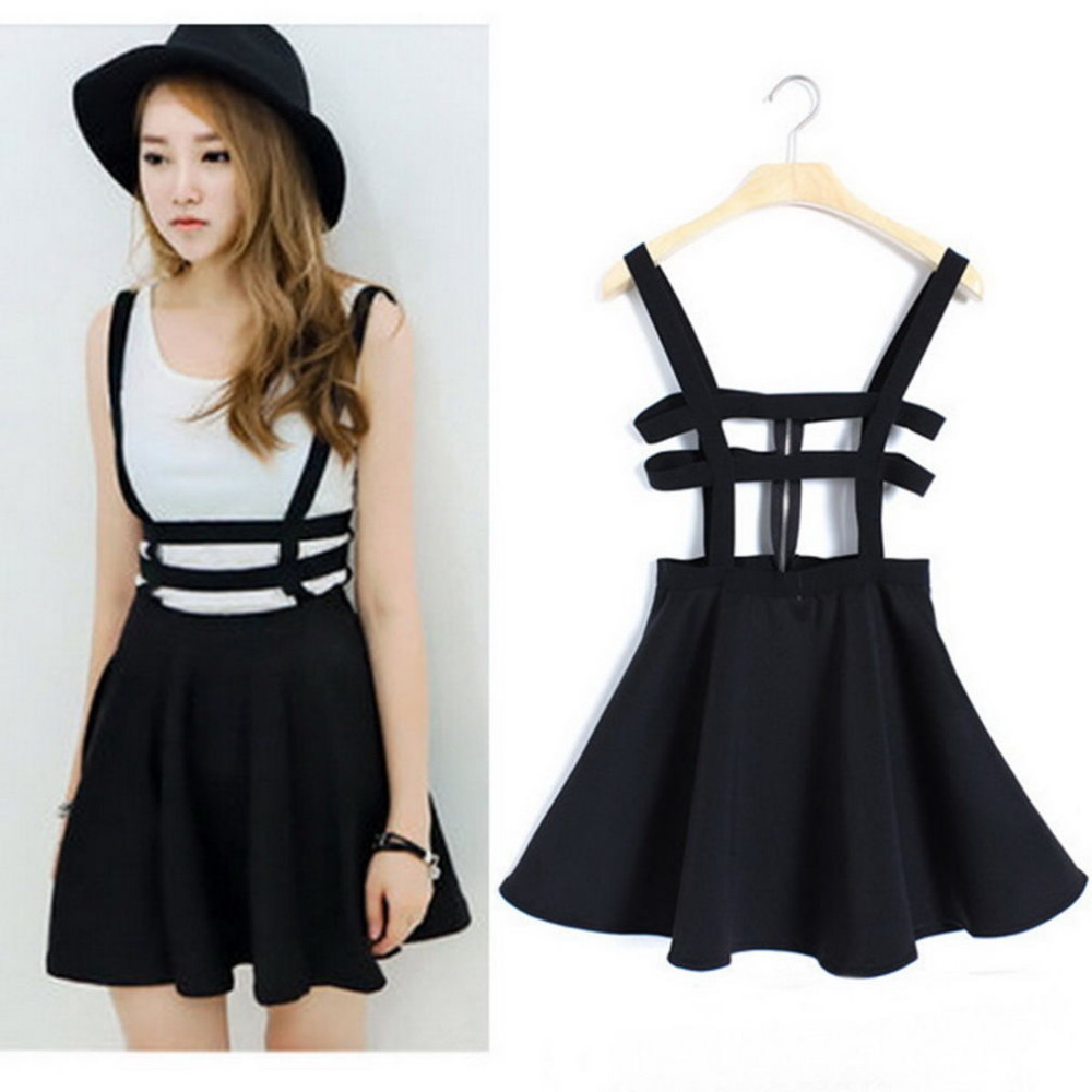f9b4c100d019 Women Sexy Pleated Suspender Skirt Braces Hollow Out Bandage Mini Skater  dress