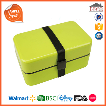 China Supplier Wholesale Green Plastic Lunch Box With Rubber Band