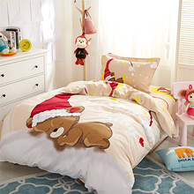 Kids enkele cartoon Bed cover Gemonteerd platte vel <span class=keywords><strong>Beddengoed</strong></span> set <span class=keywords><strong>Kerst</strong></span> beer