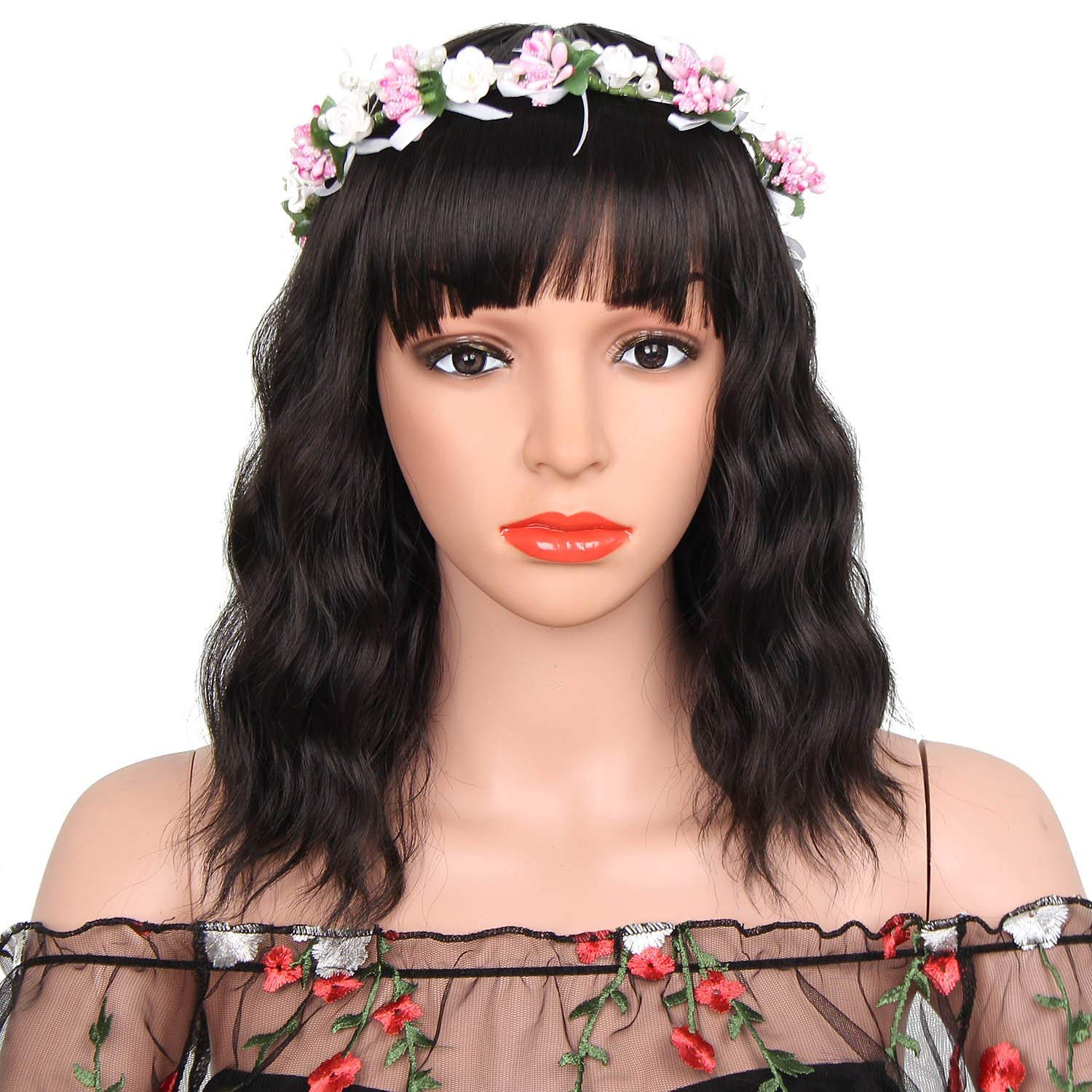 Buy Synthetic Curly Bob Wig with Bangs for Black Women