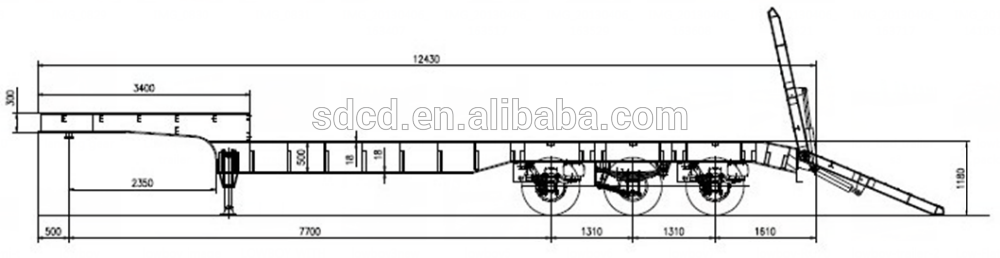 Trailer Axle Sizes : Cimc china gooseneck ton tri axle long chassis low bed