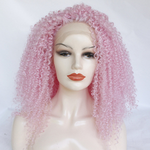Wholesale Afro curl pink lace front wig kinky curl synthetic pink wig fashion hot pink curly wig for black women