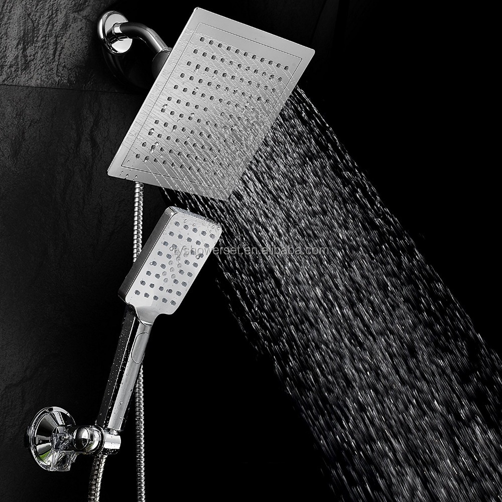 9 Rainfall Shower Head Handheld Combo Push Button Flow Control