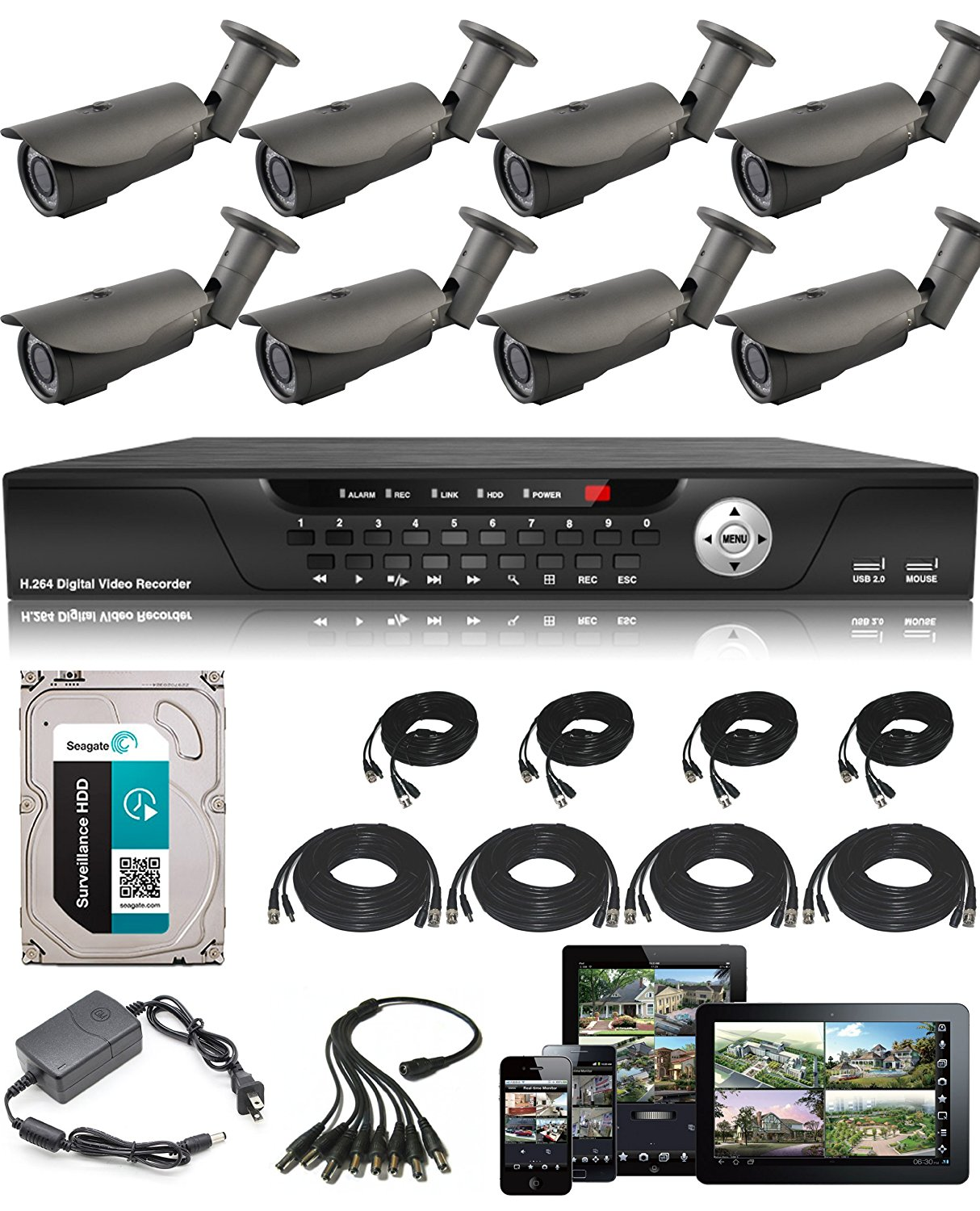 USG Business Grade CCTV Kit: 1x 16 Channel 960H DVR + 8x 2.8-12mm Bullet Cameras + 1x 2TB HDD + 8x BNC Video/DC Power Cables (65' + 100') + 1x Power Supply + 1x Splitter Complete CCTV Video Surveillance