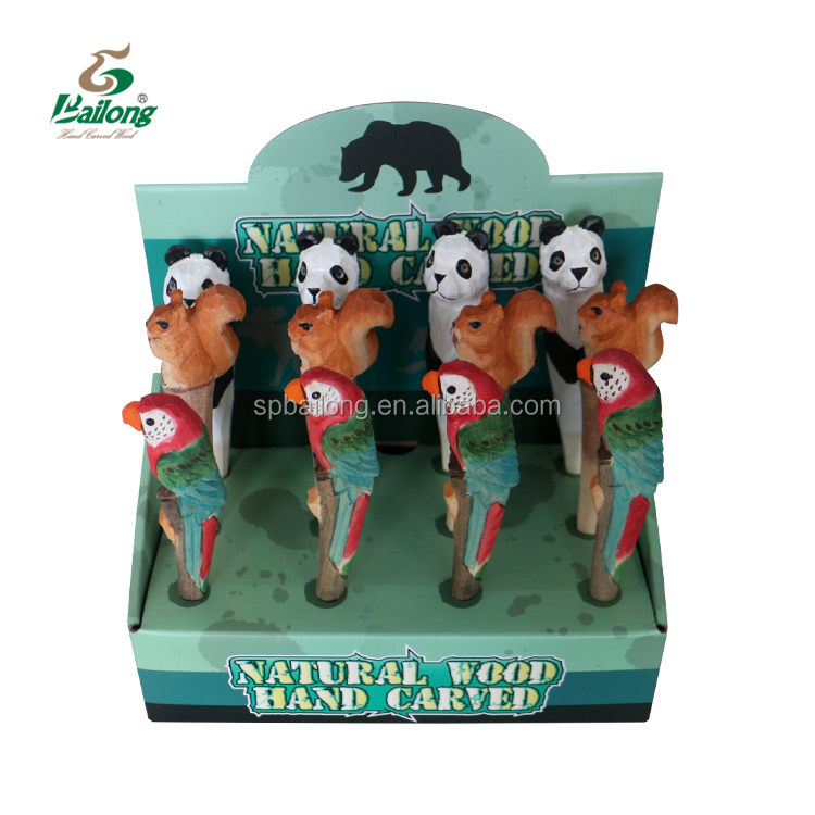 Ready to ship 72 pcs per box CE standard hand carved custom logo animal wooden pen