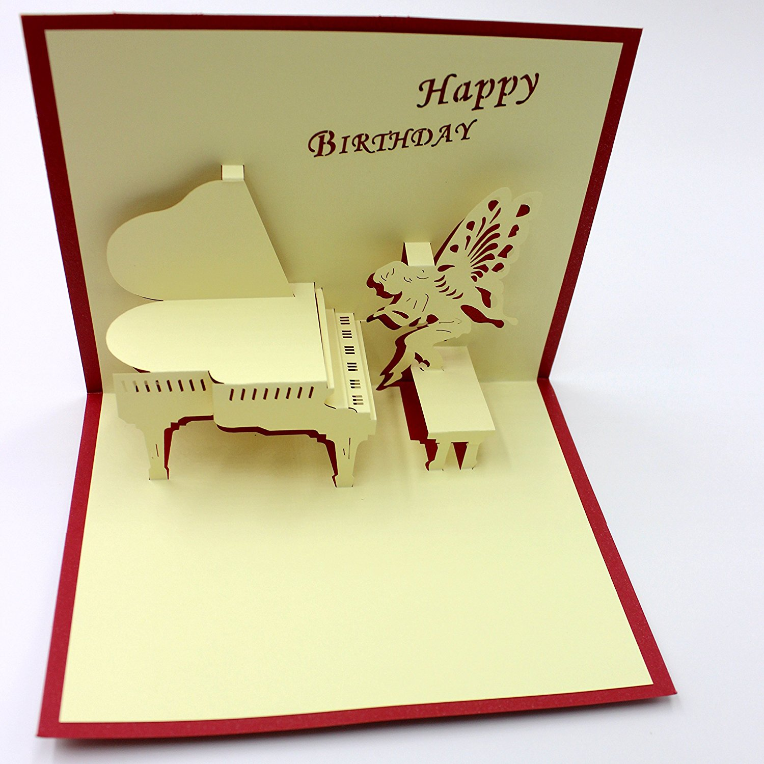 handmade 3d pop piano angel greeting cards hollow happy birthday greetinginvitation cards pack of 2 - Birthday Card Packs
