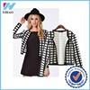 Trade Assurance Yihao 2015 Woman Winter Latest Casual Black&White Checkered Plaid Lady Outdoor Jacket