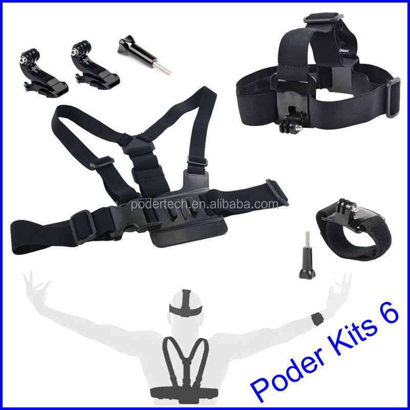 Used for Go pro Hero4 session head/chest/wrist strap mount kits for Gopros Heros 4 session accessories kits 6