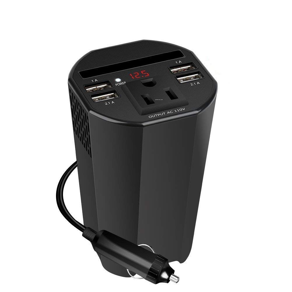 Mkocean 150W Car Power Inverter, DC 12V to 110V AC Auto Converter with 1 AC Outlets and 4 USB Port Charger