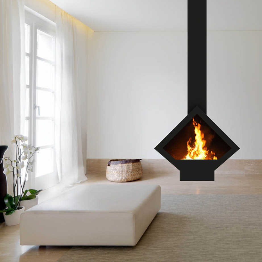 Decoration Hanging Fireplace Ceiling Mounted Wood Stove French