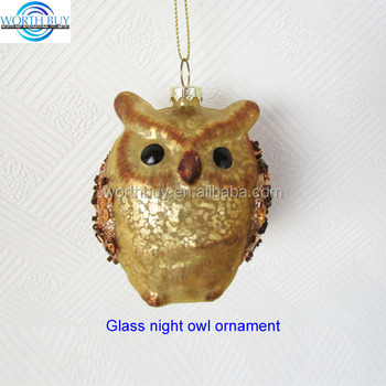 Vintage Dark Brown Hand Blown Glass Owl Christmas Ornament For