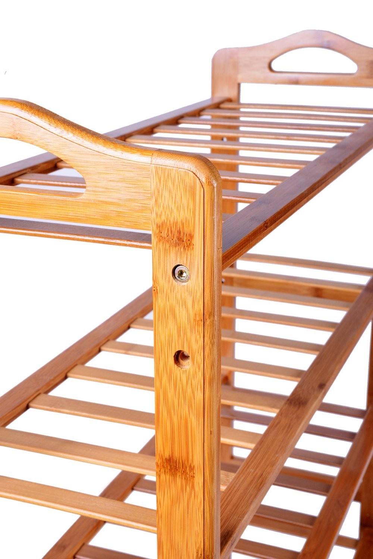 Bamboo Slanted Entryway Floor Shoe Shelf 7