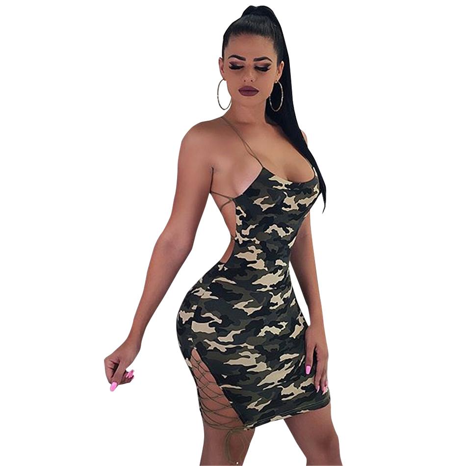 e655f810289bb Bandage Dresses 2018 Sexy Spaghetti Strap Camouflage Backless Criss-cross  Split Bodycon Mini Dress