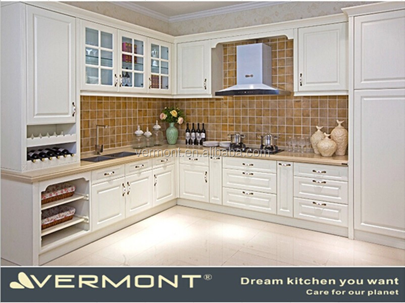 Customized Dimensions White PVC Molded Kitchen Cabinet