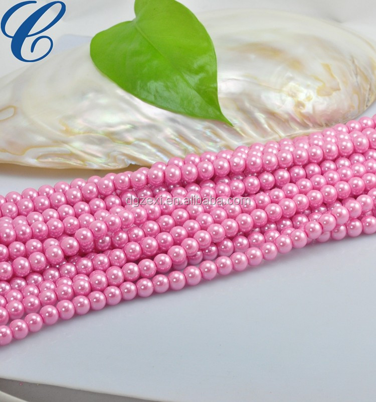 Pink color pearl strands