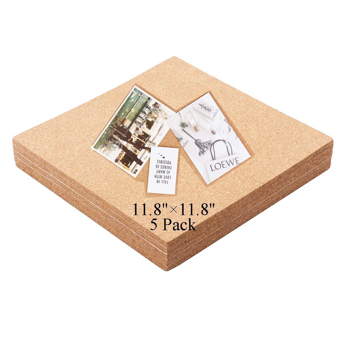 "5 Pack Premium Cork Tiles 11.8""x11.8"" - 1/4"" Thick Self Adhesive Cork Board - Bulletin Board - Mini Wall - Ultra Strong Self Adhesive Backing"