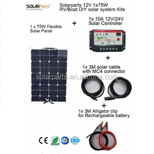 new Solarparts 1x75W DIY RV/Boat Kits portable mini solar pv system