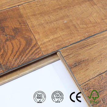 Beveled V Groove Beech Wood Leather Laminate Flooring For Bathroom