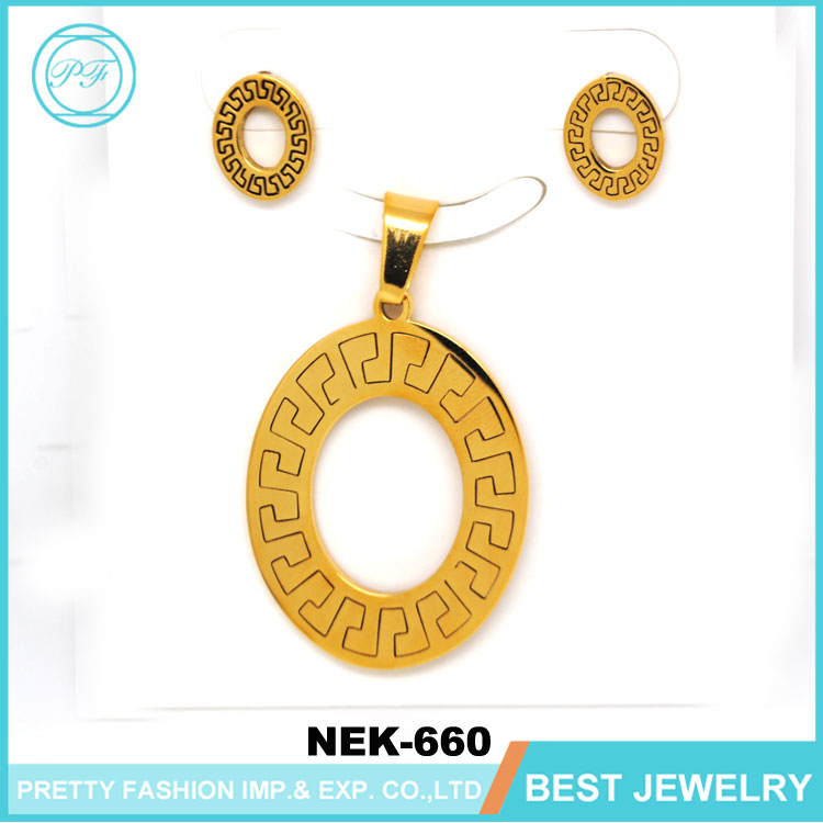 Stainless Steel Pendants Necklaces Earrings 18k Gold Jewelry Women Vintage Accessory Jewelry Sets