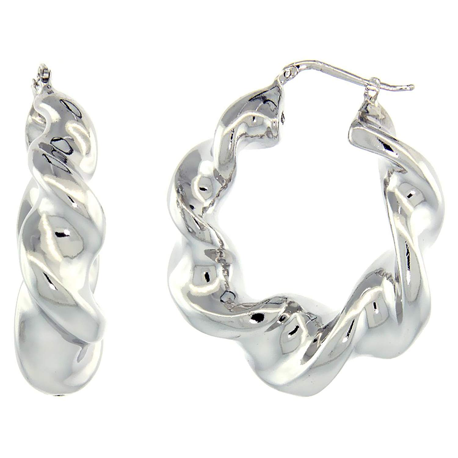 Get Quotations Sterling Silver Italian Puffy Hoop Earrings Twisted Design W White Gold Finish 1 9