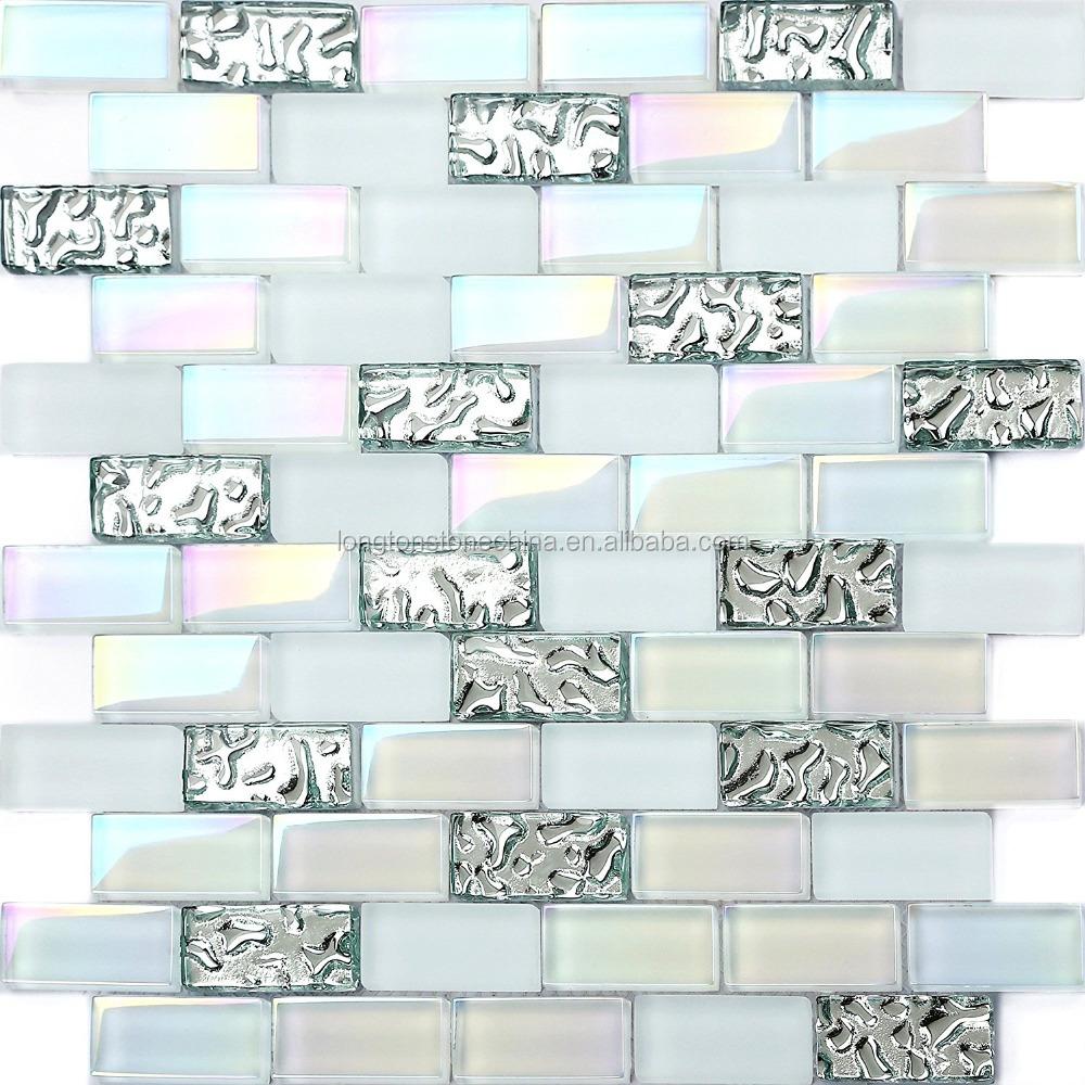 - Subway Rainbow Glass Mosaic Tile Mix Super White Iridescent Finish