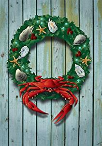 Holiday Crab Wreath Card by Joe Barsin, 5x7