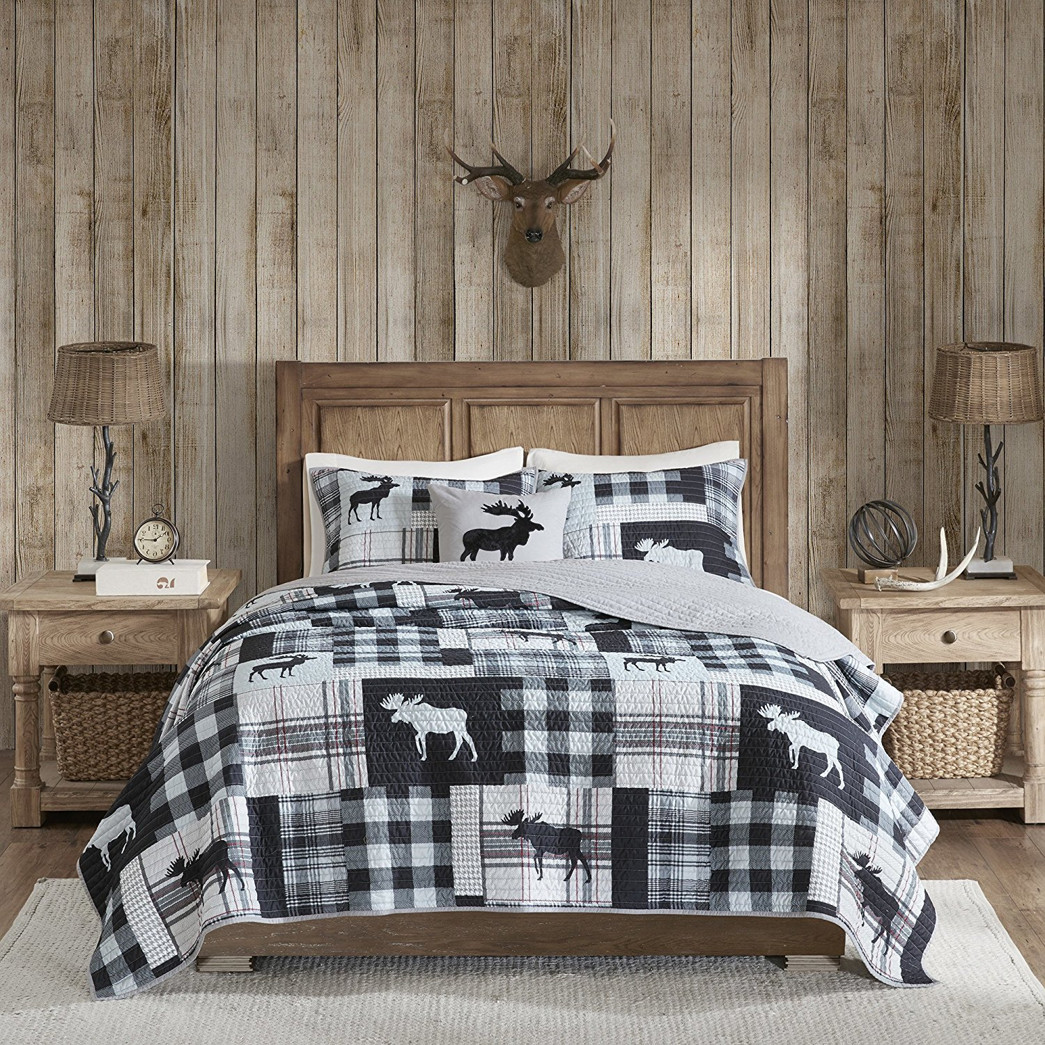 4 Piece Oversized Black Grey White King/ Cal King Quilt Set, Patchwork Pattern Bedding Tartan Plaid Themed Checkered Moose Mountain Winter Cozy Stylish Cabin Lodge Cottage Warm Animal Gray, Polyester