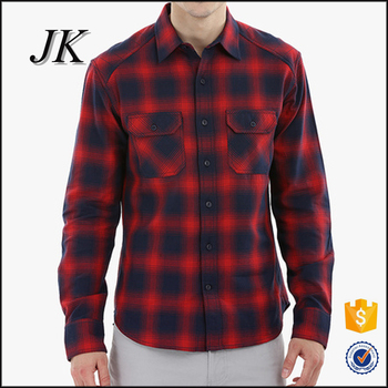 Mens Raglan Long Sleeve Two Pockets Flannel Checked Fashion Shirts