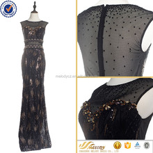 2017Elegant Sequin Black Evening Cocktail Maxi Dress