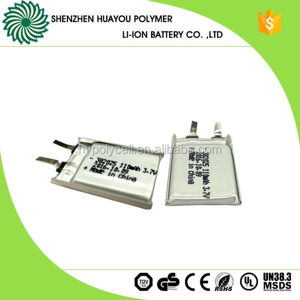 382025 Rechargeable 3.7v 110mAh Lithium Polymer Battery